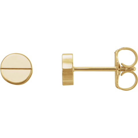 Geometric Earrings with Backs - 14K Yellow Gold