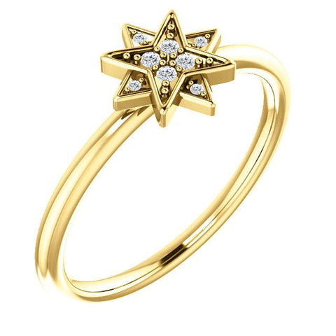 0.04 CTW Diamond Star Ring - Sterling Silver, 14k Gold (Y, W or R), Platinum