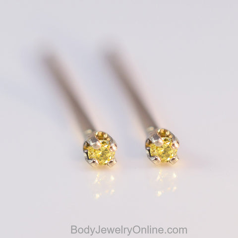 Genuine Canary Yellow DIAMOND Earring Studs - 1.5mm 0.03tcw (0.015 ea) - 14k Solid Gold (Yellow, or White), Platinum, Sterling Silver