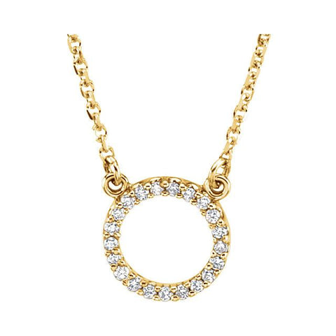 "1/10 CTW Diamond Small Circle Necklace 16"" - 14k Gold (Y, W or R)"
