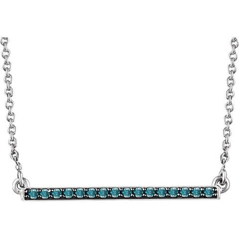 "1/6 CTW Blue Diamond Bar Necklace  16-18"" - 14k White Gold"
