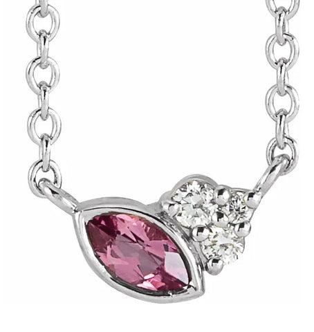 "Pink Tourmaline & 0.03 CTW Diamond 16"" or 18"" Necklace - 14k Gold (Yellow, Rose, or White), Platinum, or Sterling Silver - WWDesignJewelers.com"