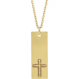 "0.03 CTW Diamond Bar Cross 18"" Necklace  - 14k Gold (Y, W or R), Sterling Silver"