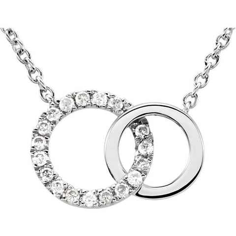 "0.06 CTW Diamond Double Interlocking Circles Necklace 18"" - 14k White Gold"