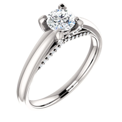 5.2 mm Round 0.6 CTW Diamond Engagement Ring - 14k White Gold or Platinum