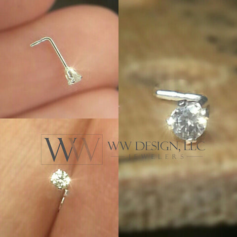 Nose Ring Stud Post w/ 2mm Swarovski Crystal - Sterling Silver or 14k Yellow/ White Gold Filled/ Solid L-Post White Clear Sparkly Crystal CZ