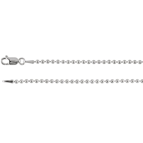 "2mm Hollow Bead 7"" Chain Bracelet - Sterling Silver"