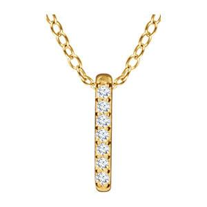 "0.05 CTW Diamond Bar Necklace 16-18"" - 14k Gold (Y, W or R)"