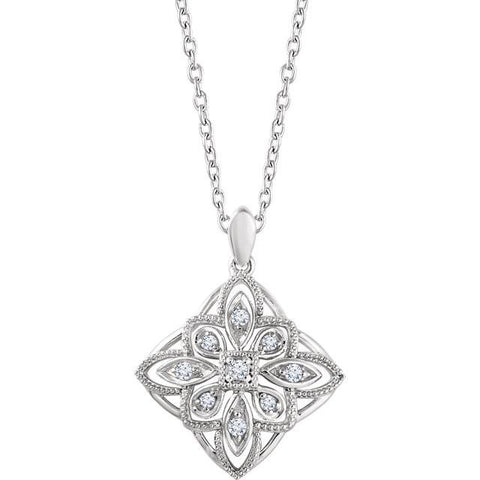 Sterling Silver 1/10 CTW Diamond Granulated Filigree Necklace