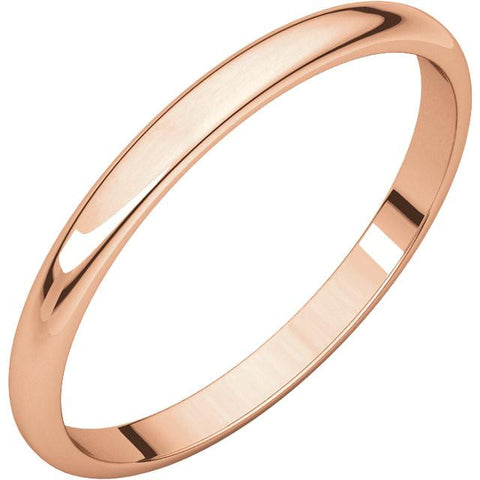 2mm Half Round Light Wedding Band Stackable Ring - 14k Gold (Y, W, or R), Palladium, Platinum, Sterling Silver