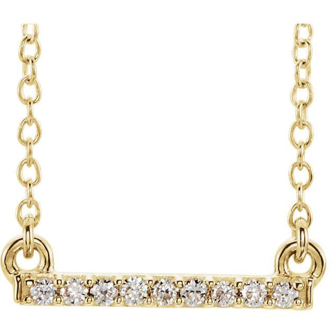 "0.07 CTW Petite Diamond Bar Necklace 16-18"" - 14k Gold (Y, W or R), or Sterling Silver"