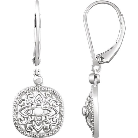 Sterling Silver Vintage-Inspired Scroll Lever Back Earrings