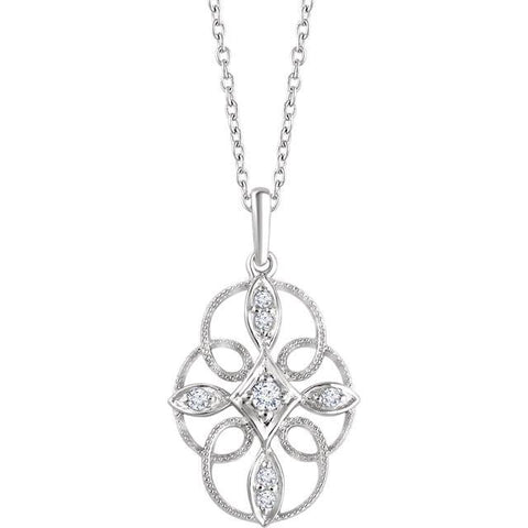 "Sterling Silver 1/10 CTW Diamond Filigree 16-18"" Necklace"