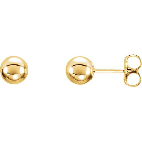 5mm Ball Earrings with Bright Finish - 14K Gold (Yellow or White)