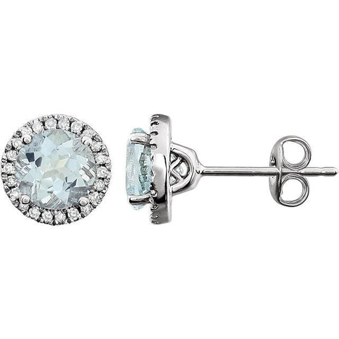 Aquamarine & 1/8 CTW Diamond Earrings - 14k White gold