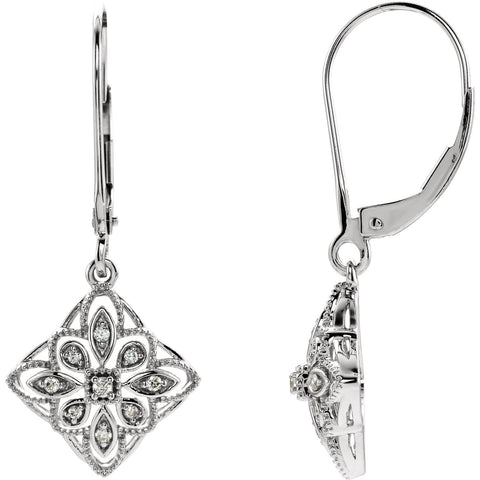 Sterling Silver 1/10 CTW Diamond Granulated Filigree Earrings