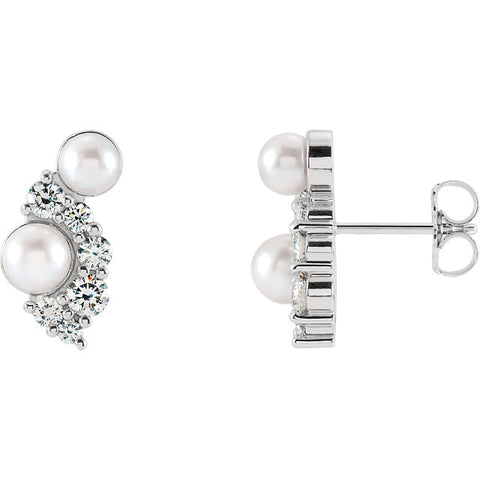 Akoya Cultured Pearls & 1/2 CTW Diamond Earrings  - WW Design, LLC