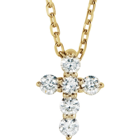 "1/6 CTW Diamond Cross 16-18"" Necklace - 14k Gold (Y, W or R), Platinum, Sterling Silver"