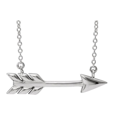 "Arrow Necklace 16""-18""- 14k Gold (Y, W or R), or Sterling Silver"