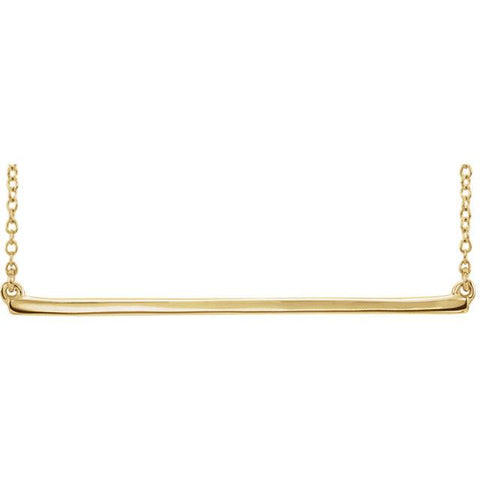 "Straight Bar Necklace 16-18"" - 14k Gold (Y, W or R), or Sterling Silver"