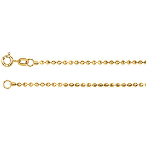 "1.75mm Hollow Bead 7"" Chain Bracelet - 14k Yellow Gold"