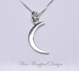 Crescent Moon Necklace - 925 Sterling Silver