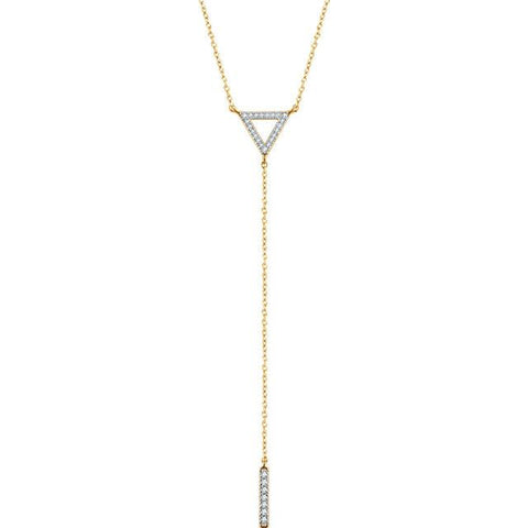 "1/6 CTW Diamond Geometric Triangle & Bar Y Necklace 16-18"" - 14k Gold (Y, W or R)"
