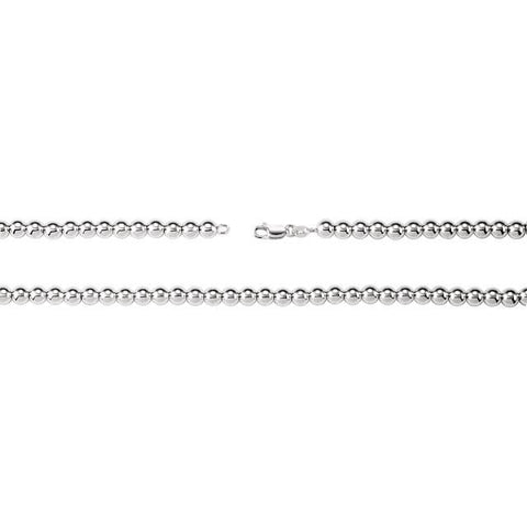 "6mm Hollow Bead 7"" Chain Bracelet - Sterling Silver"