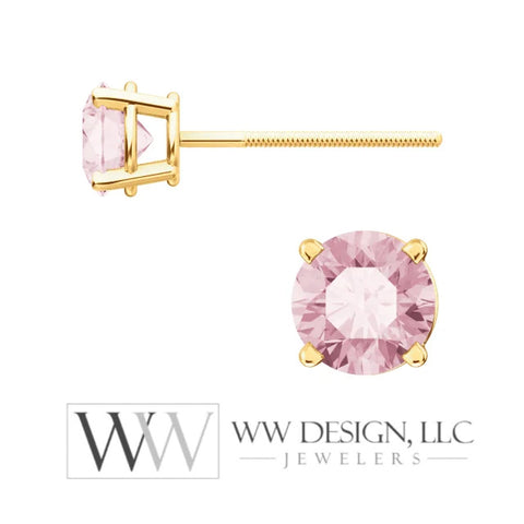 Genuine AA Pink Morganite Earring Studs 5mm 0.96 tcw (each 0.48cts) Post w/ 14k Solid Gold (Yellow, Rose, White)Silver, Platinum Studs - WWDesignJewelers.com