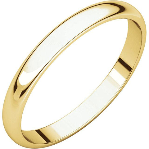 2.5mm Half Round Light Wedding Band Stackable Ring - 14k Gold (Y, W, or R), Palladium, Platinum, Sterling Silver