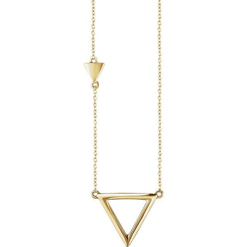 "Triangle Necklace 18"" - 14k Gold (Y, W or R)"