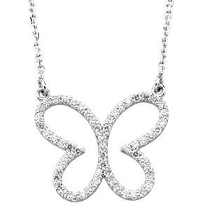 "1/3 CTW Diamond Butterfly 16"" Necklace - 14k Gold (Y, W, or R)"