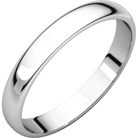 3mm Half Round Light Wedding Band Stackable Ring - 14k Gold (Y, W, or R), Palladium, Platinum, Sterling Silver