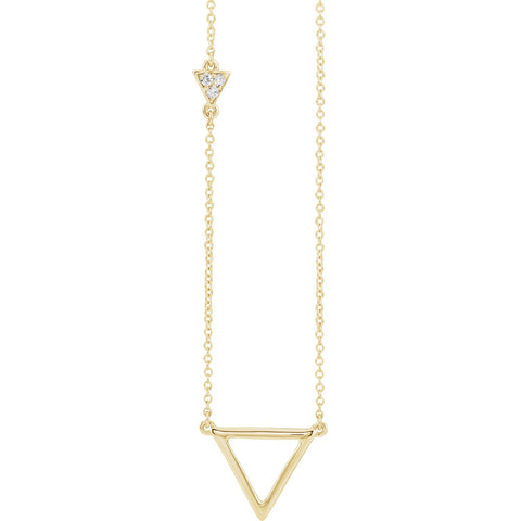 "0.05 CTW Diamond Triangle Necklace 16-18"" - 14k Gold (Y, W or R)"