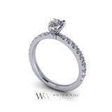 DIAMOND Engagement Ring Genuine Pear F-H VS 0.33 ct (0.69 ctw) 6x4mm 14k Gold (Y, W, R), 18k Gold, Platinum w Pave Diamond Band Promise Ring