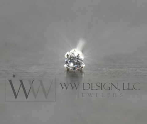 SWAROVSKI 2mm Crystal in a Tragus Cartilage Helix Stud Post Sterling Silver / 14k Yellow or White Gold Filled / Solid L-Post Sparkly CZ Nose