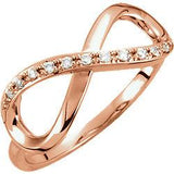 0.05 CTW Diamond Large Infinity-Inspired Ring - 14k Gold (Y, W or R),