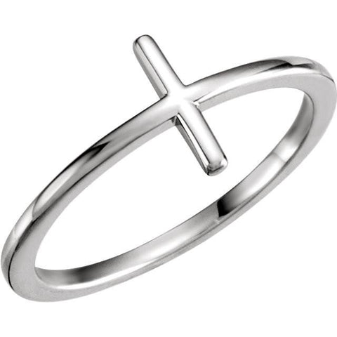 Sideways Cross Ring - Sterling Silver, 14k Gold (Y, W or R)