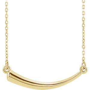 "Horn Necklace, Bar Necklace 18"" - 14k Gold (Y, W or R), or Platinum, Sterling Silver"