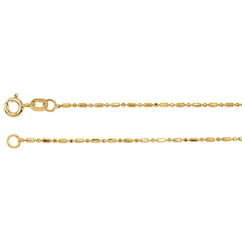 "1.25mm Alternating Diamond-Cut Bead 7"" Chain Bracelet - 14k Yellow Gold"