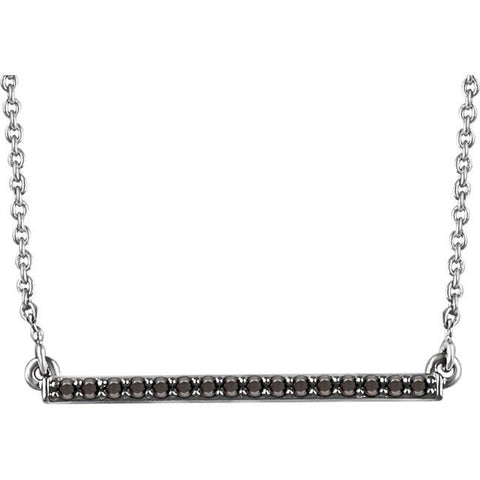 "1/6 CTW Black Diamond Bar Necklace  16-18"" - 14k White Gold"