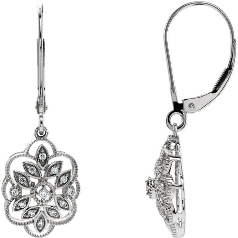 Sterling Silver 1/6 CTW Diamond Granulated Filigree Earrings
