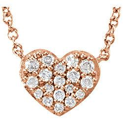 "1/10 CTW Diamond Heart 18"" Necklace - 14k Gold (R or W), or Sterling Silver"
