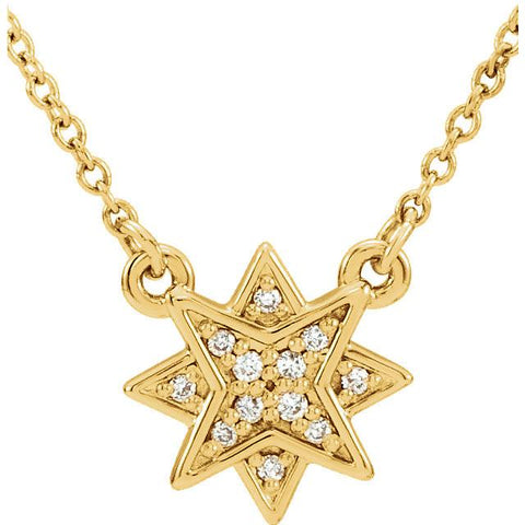 "0.04 CTW Diamond Star Necklace 16-18"" - 14k Gold (Y, W or R), or Platinum, Sterling Silver"