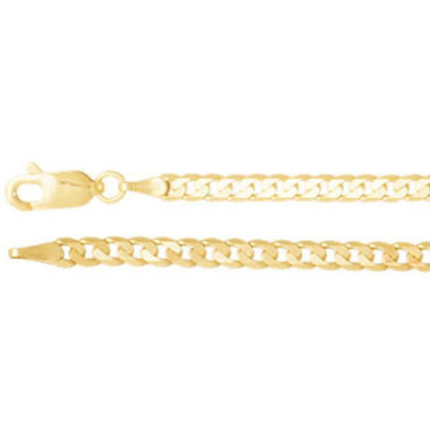 "3mm Solid Curb 7"" Chain Bracelet - 14K Yellow Gold"