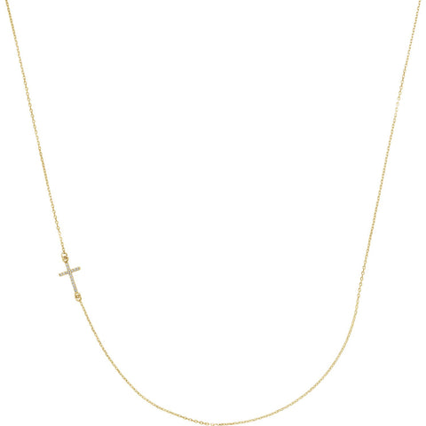 "0.05 CTW Diamond Off-Centered Sideways Cross Necklace 16"" - 14k Gold (Y, W or R), Platinum, Sterling Silver"