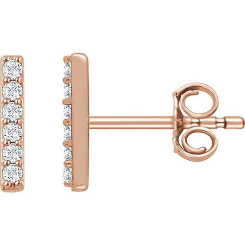 1/10 CTW Diamond Vertical Bar Earrings - 14K Rose Gold