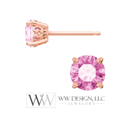 Genuine AAA Pink Sapphire Earring Studs 5mm 1.32 tcw (each 0.66cts) Post w/ 14k Solid Gold (Yellow, Rose, White)Silver, Platinum Studs - WWDesignJewelers.com