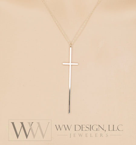 Minimalist Long CROSS Necklace - Customize- Sterling Silver or 14k Solid Gold (Yellow, White or Rose) - Celebrity Style of Nene Leakes RHOA, KTG Kathy Lee Gifford, Chenoweth, Kathie Lee Gifford