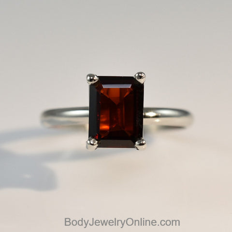 Garnet Emerald Cut Stone Ring - Eye Clean - Smooth or Rope Band in 14k Gold (White, Rose, or Yellow) or Silver